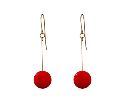 Red Circle Drop Earrings - TWISTonline