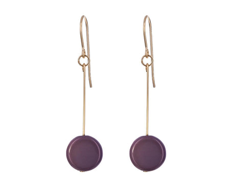 Dark Mauve Circle Drop Earrings - TWISTonline