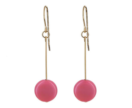 Pink Circle Drop Earrings - TWISTonline