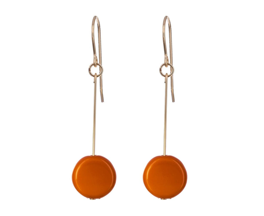 Burt Orange Circle Drop Earrings - TWISTonline