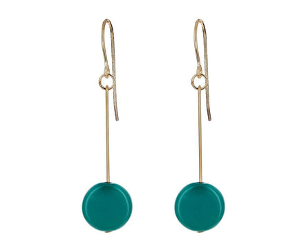 Dark Teal Circle Drop Earrings - TWISTonline