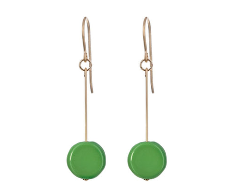 Green Circle Drop Earrings - TWISTonline