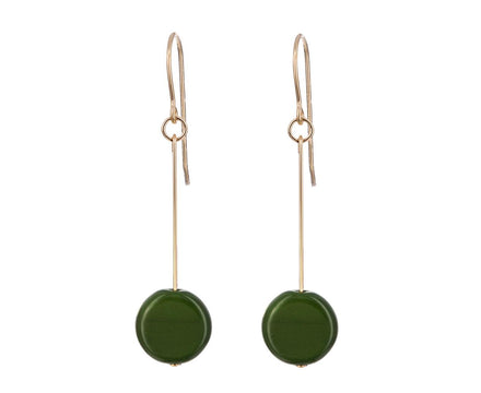 Forest Green Circle Drop Earrings - TWISTonline