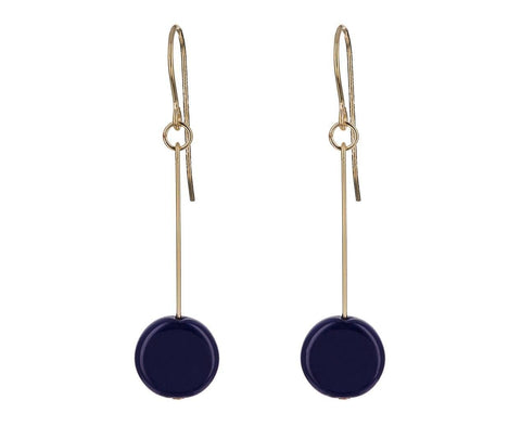 Navy Circle Drop Earrings - TWISTonline