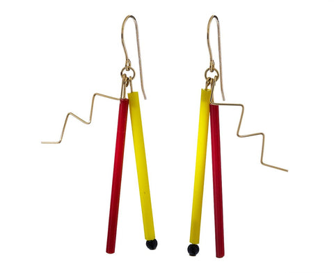 Red and Yellow Bead Explosion Earrings - TWISTonline