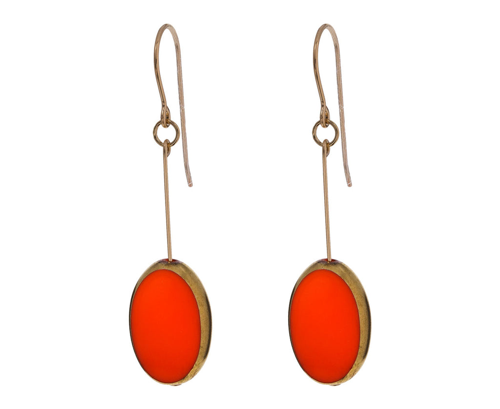 Gold Frame Orange Oval Earrings