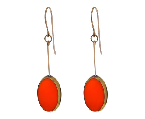 Gold Frame Orange Oval Earrings - TWISTonline