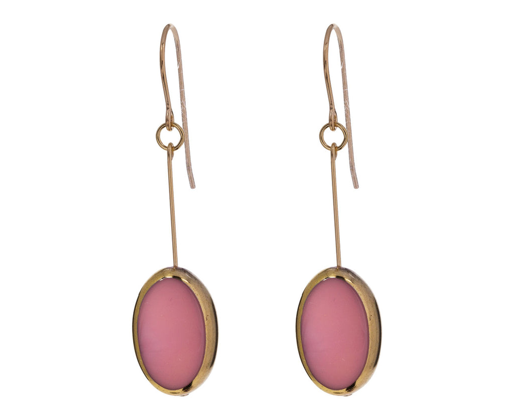 Gold Frame Pink Oval Earrings