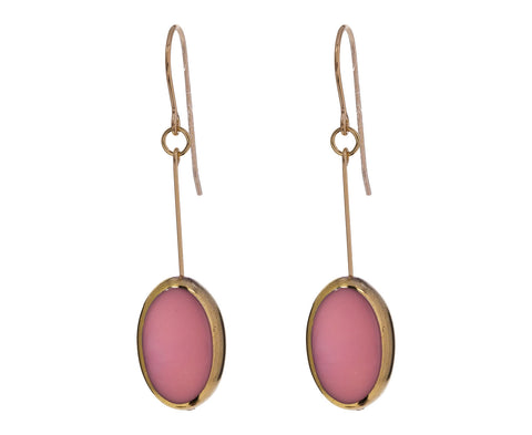 Gold Frame Pink Oval Earrings - TWISTonline