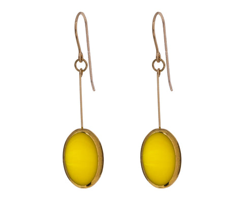 Gold Frame Yellow Oval Earrings
