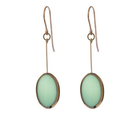 Gold Frame Aqua Oval Earrings