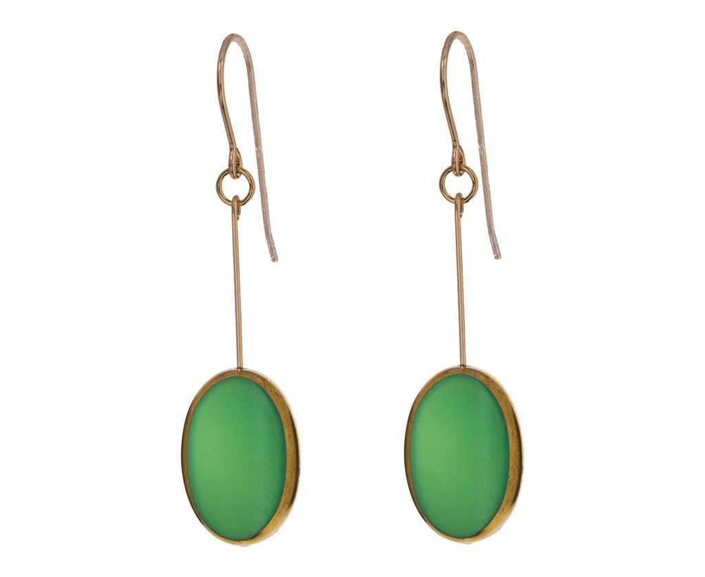 Gold Frame Green Oval Earrings - TWISTonline
