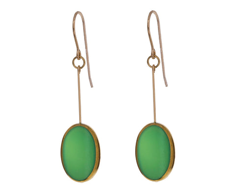 Gold Frame Green Oval Earrings