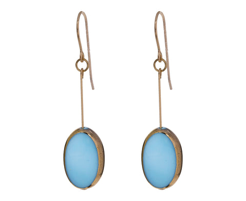 Gold Frame Blue Oval Earrings - TWISTonline