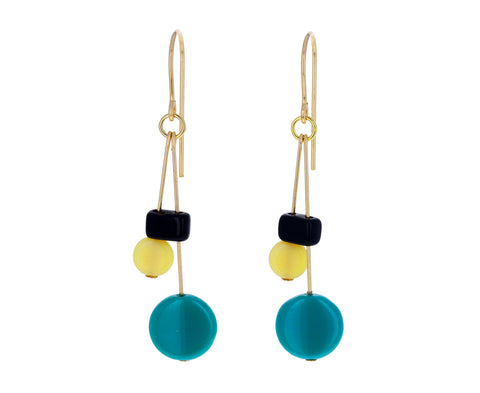 Beaded Mod Drop Earrings