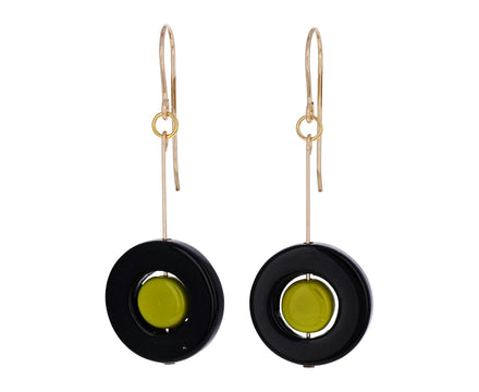Black and Green Circle Earrings