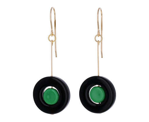 Black and Teal Circle Earrings