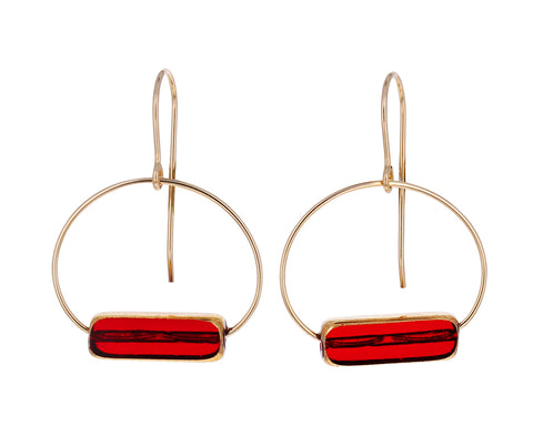 Red Line Hoop Earrings