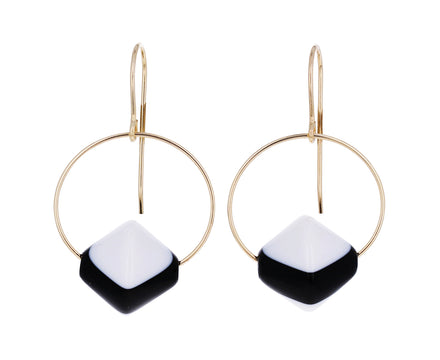 Black and White Circle Drop Earrings