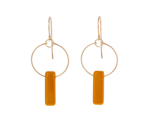 Mustard Deco Bar Dangle Earrings