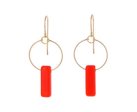 Orange Deco Bar Dangle Earrings