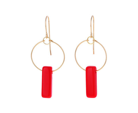 Red Deco Bar Dangle Earrings