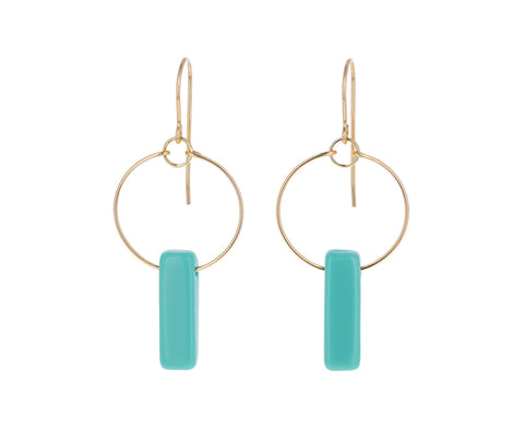 Turquoise Blue Deco Bar Dangle Earrings