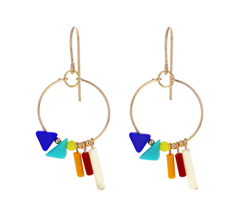 Triangle Fringe Hoop Earrings