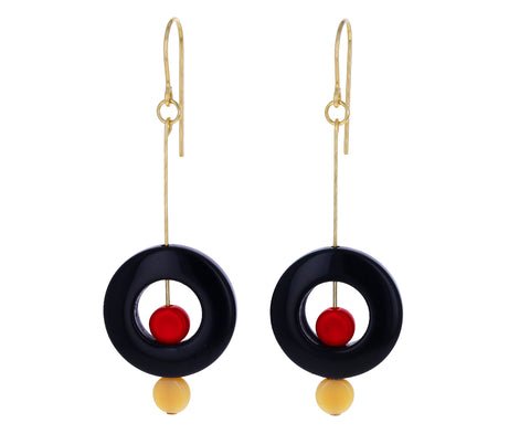 Red and Black Inner Circle Earrings