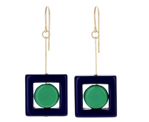 Navy Square Drop Earrings