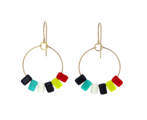 Bright Rectangular Hoop Earrings