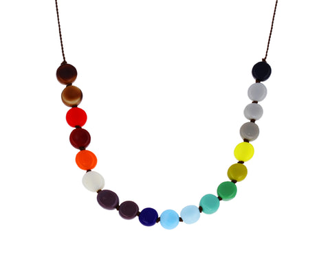 Small Rainbow Disc Necklace