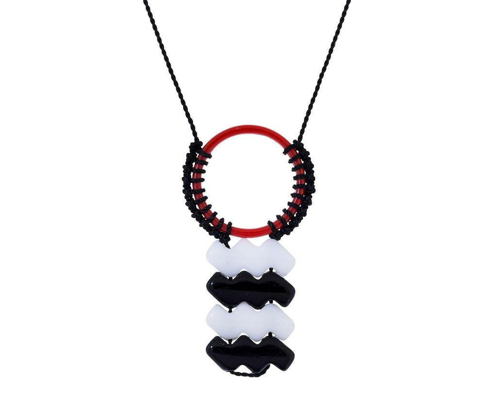 Red Circle and Black and White Waves Necklace - TWISTonline