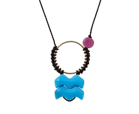 Woven Blue Wave and Pink Bead Pendant Necklace - TWISTonline