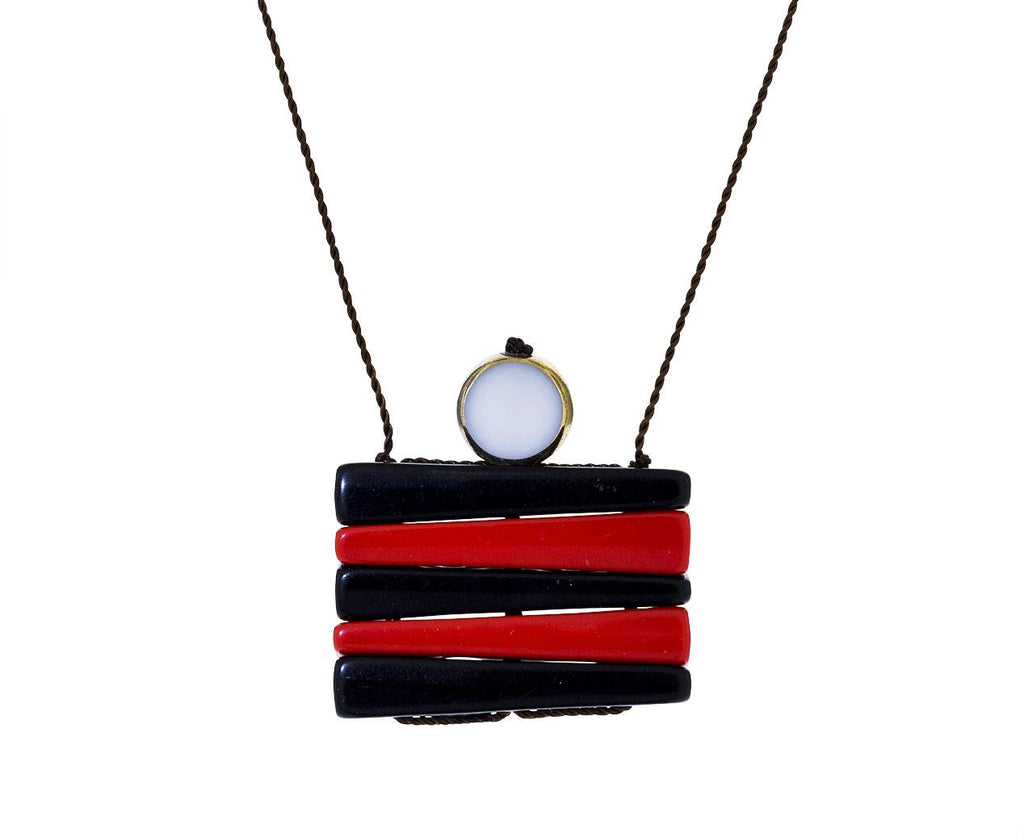 Black and Red Preppy Stacked Pendant Necklace - TWISTonline