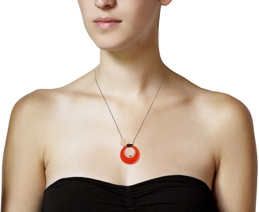 Orange Bubble Pendant Necklace