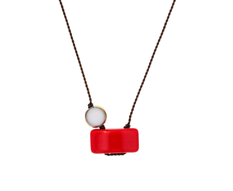 Red Rectangle Pendant Necklace