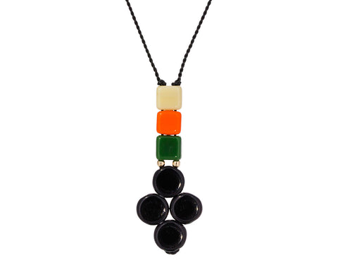 Beaded Black Clover Pendant Necklace