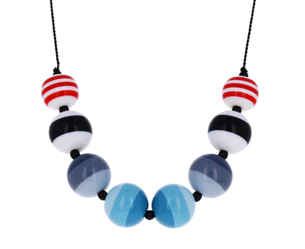 Lucite Stripe Beaded Necklace