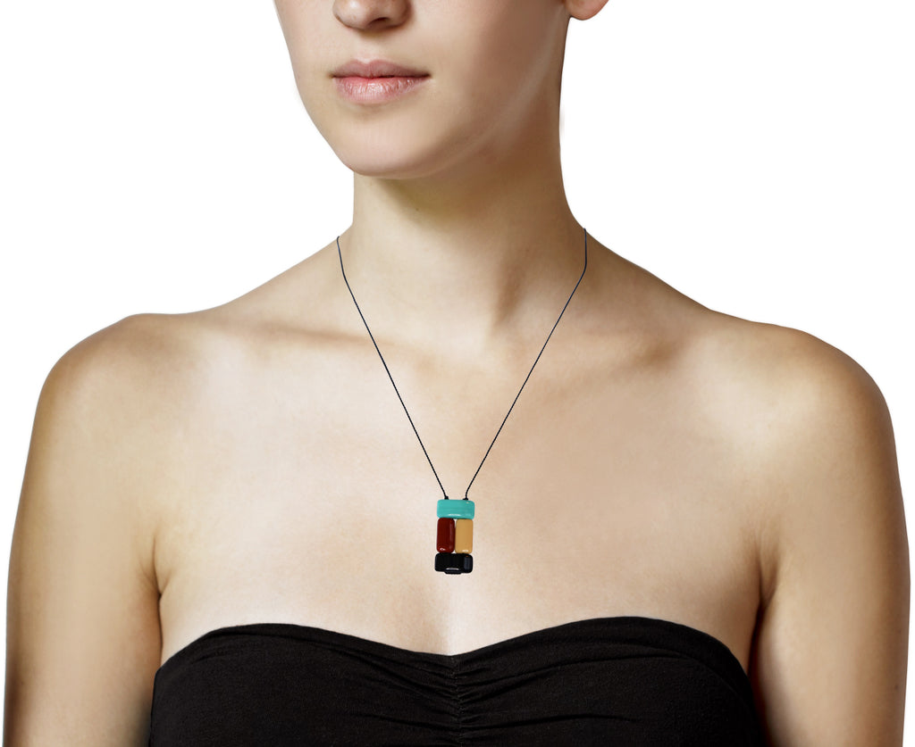 Stacked Rectangle Pendant Necklace