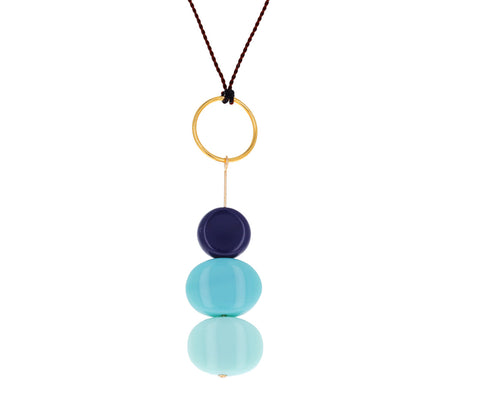 Stacked Blue Rocks Pendant Necklace