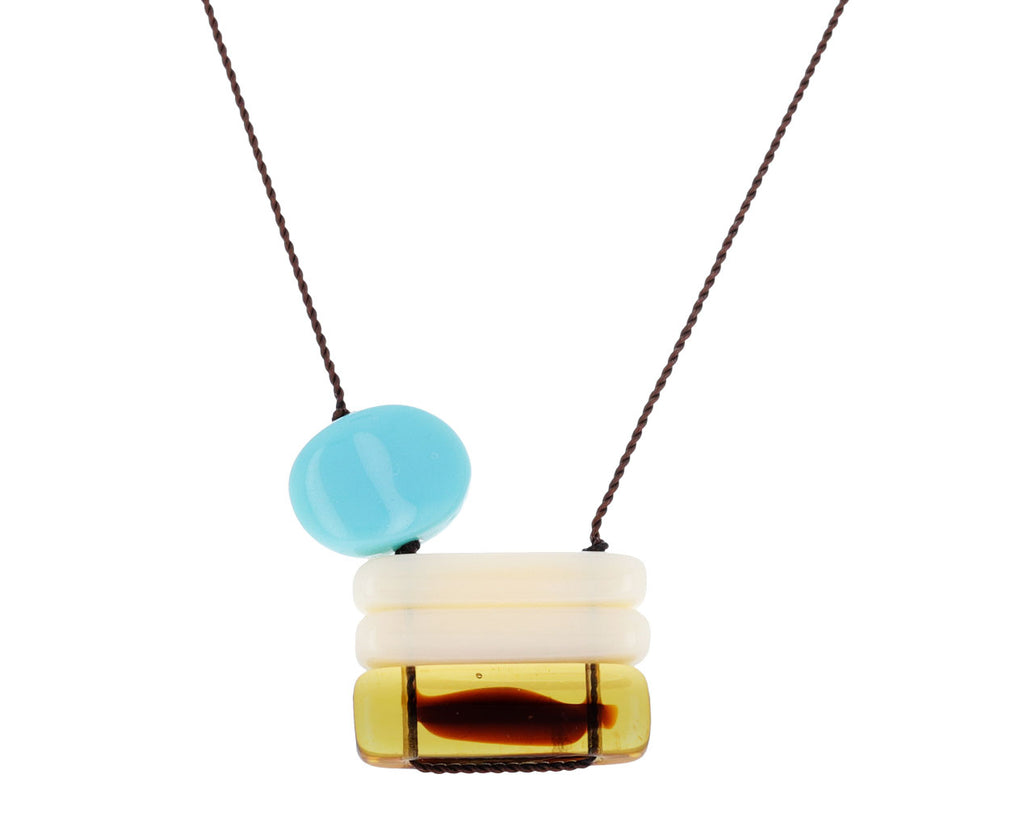 Blue and White Stacked Pendant Necklace