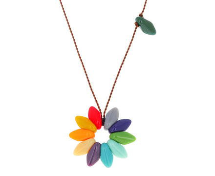 Rainbow Flower Pendant Necklace