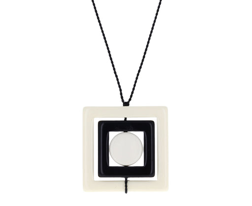 Black and White Square Pendant Necklace