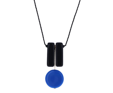 Tulip Black and Blue Beaded Necklace