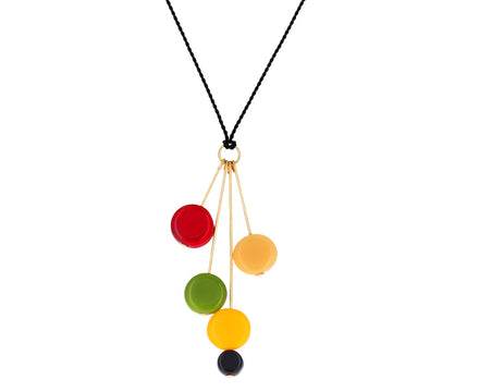 Multi-Color Vintage German Glass Pin Drop Necklace