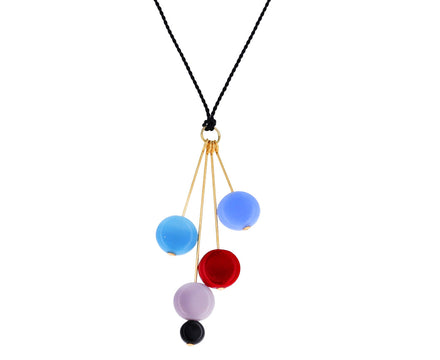 Cool Toned Glass Bead Pin Drop Necklace