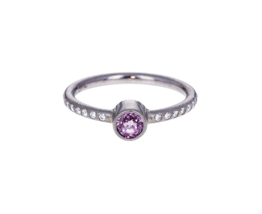 White Gold Diamond Ring with Lavender-Pink Sapphire - TWISTonline