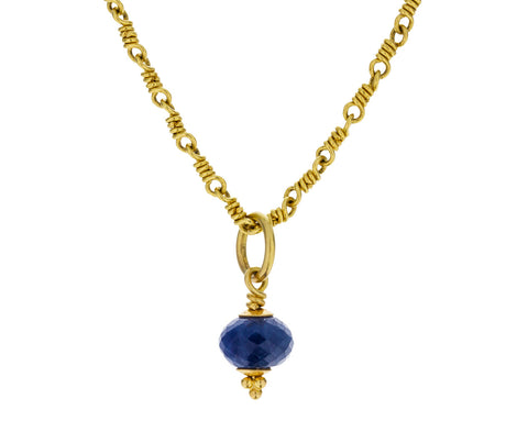 Peach Gold Blue Sapphire Tassel Pendant ONLY - TWISTonline