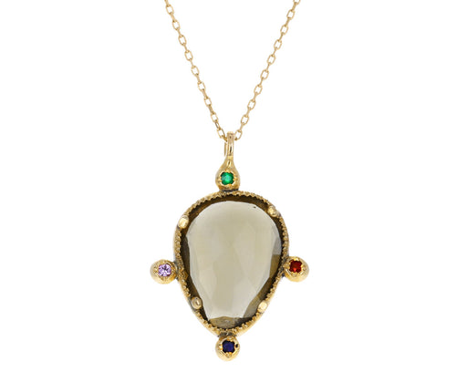 Whiskey Quartz Emerald Ruby Sapphire Necklace
